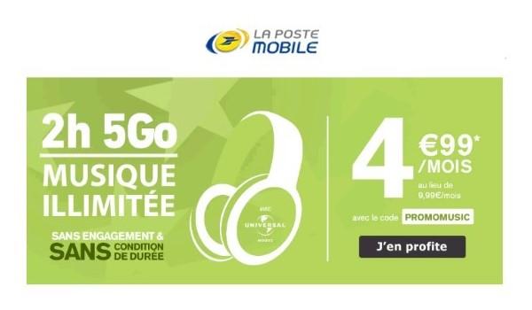 le forfait SIM 2h 5Go la Poste Mobile