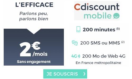 le forfait cdiscount mobile 2 euros