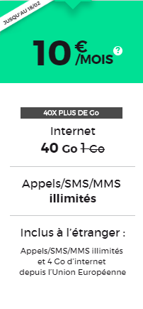 offre forfait mobile 10 euros red by sfr