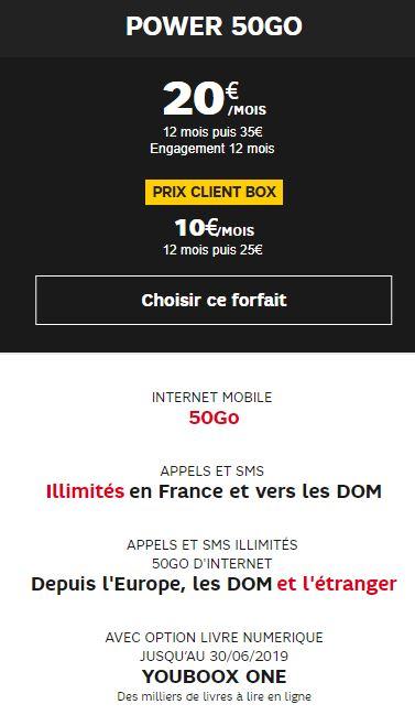 Forfait mobile SFR 50Go