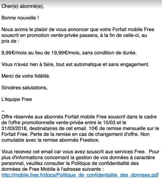Mail Free Mobile Vente Privée