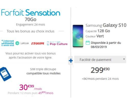 galaxy s10 avec un forfait Bouygues Telecom
