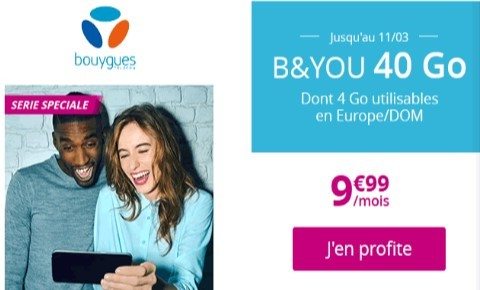 le forfait bandyou 40go a 9.99 euros par mois a vie