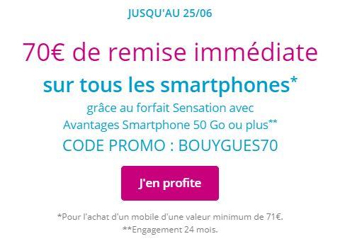 Promo Bouygues Telecom 70 euros de remise