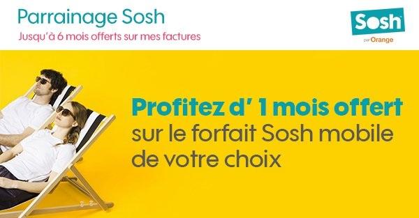 Sosh : Parrainez vos amis et tentez de gagner un an de forfait Sosh ou 10 Soshphone