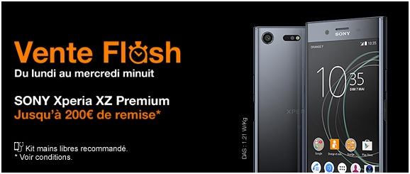 le sony xperia xz premium et le huawei p8 lite en vente flash chez orange. Black Bedroom Furniture Sets. Home Design Ideas
