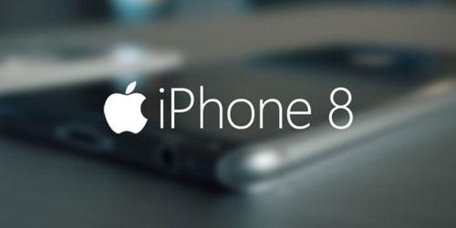 Logo de l'iPhone 8 avec téléphone flou derrière