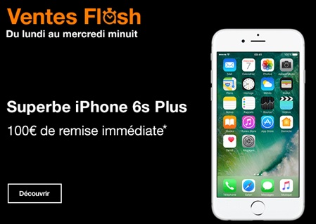 orange, vente flash, iphone 6s plus