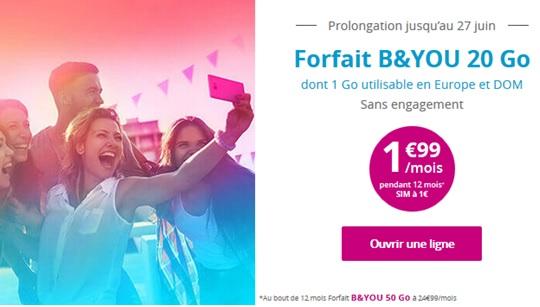 Le forfait 20 Go de B&You est à 1,99 euro par mois pendant une semaine — Bon Plan