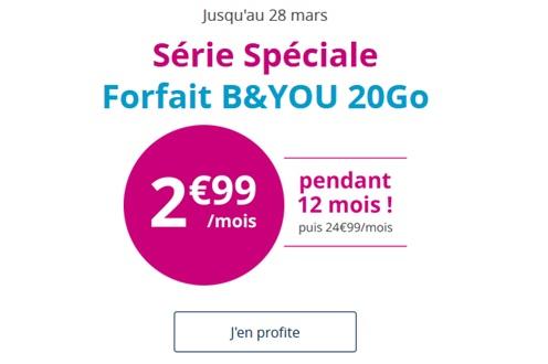 La Série Spéciale B&YOU 20Go à 2.99 euros s'arrête dans quelques heures chez Bouygues Telecom