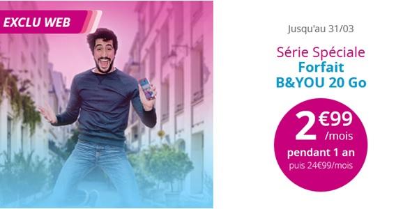 Bouygues Telecom : La Série Spéciale B&YOU 20Go à 2.99 euros prolongée jusqu'au 31 mars