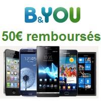 Bon plan : 50€ remboursés sur une sélection de Smartphones chez B&You !