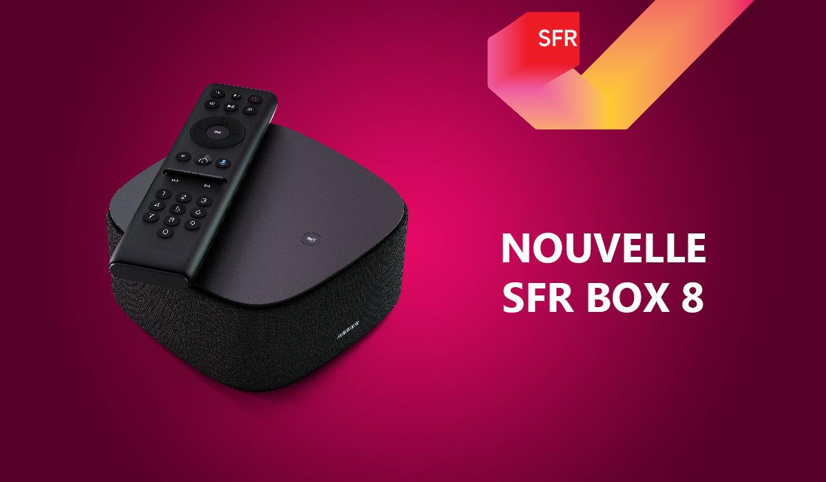 SFR BOX 8 sur fond violet
