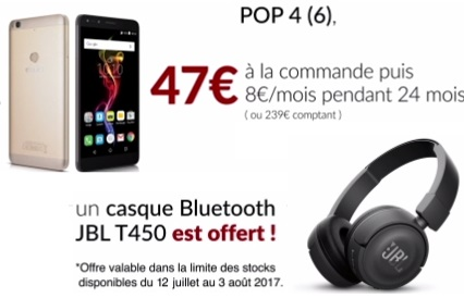 nouvelle promo free mobile un casque bluetooth jbl t450 offert avec l alcatel pop 4 6. Black Bedroom Furniture Sets. Home Design Ideas