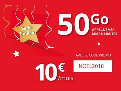 Forfait Auchan 50Go à 10€ avec le code promo NOEL2018