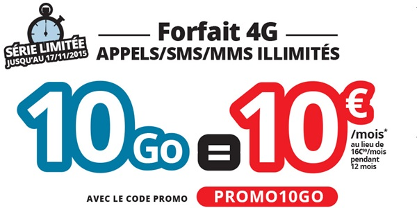 forfait 10go en 4G NRJ Mobile ou Auchan Telecom