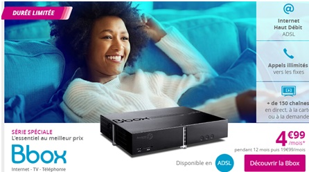 La BOX Internet Haut Débit de Bouygues Telecom au prix exceptionnel de 4.99 euros jusqu'au 03 juillet