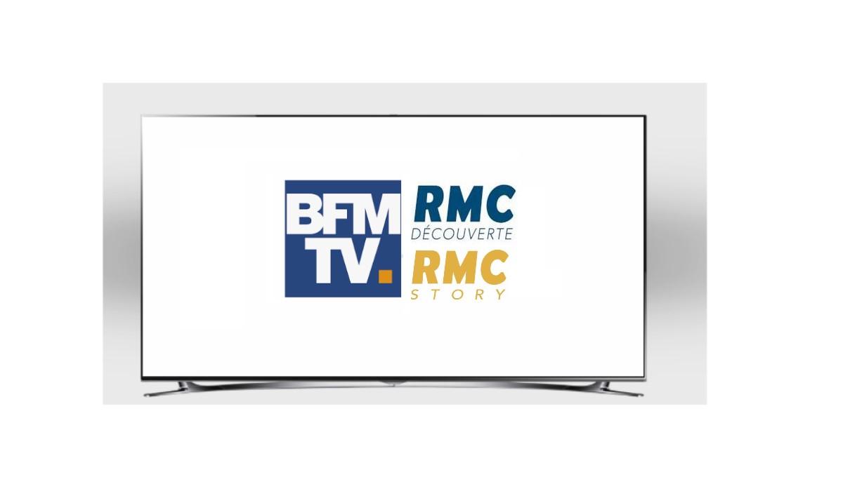 ecran TV avec logos BMF Tv, RMC Story et RMC decouverte