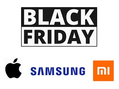 Logo black friday avec les logos Samsung, Xiaomi et Apple