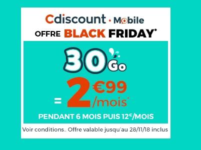 Cdiscount Mobile dégaine sa vraie promo du Black Friday avec 30Go à 2,99 euros... Qui dit mieux ?
