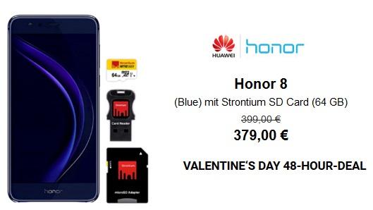 Bon plan Saint-Valentin : Honor 8 avec une carte SD Strontium (64GB) à 379 euros