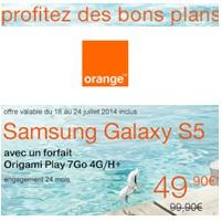Samsung Galaxy S5 : 100€ de remise avec Orange