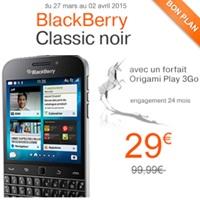 blackbeery classic en promo chez Orange