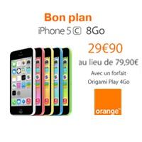 Bon plan Orange : iPhone 5C en promo à 29.90€ avec le forfait Origami Play 4Go !