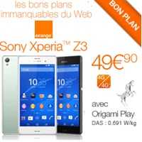 sony Xperia Z3 vente flash chez Orange