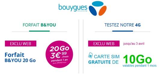 carte sim gratuite bouygues Carte SIM 10Go gratuite et série limitée 20Go à 3.99€ : Bouygues s