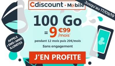 Nouvelle promo : Un forfait mobile avec 100Go de 4G à 9.99 euros chez Cdiscount Mobile