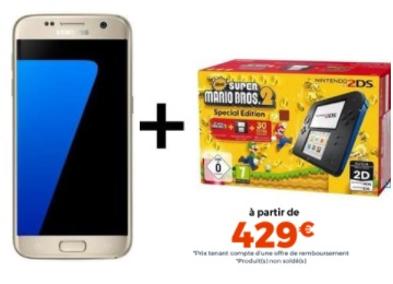 Pack exclusif avec le Galaxy S7 Edge + console 2DS Cdiscount