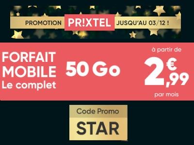 Chez Prixtel, le forfait Le Complet 5Go est à 2,99€ : Un prix cadeau spécial Noël !