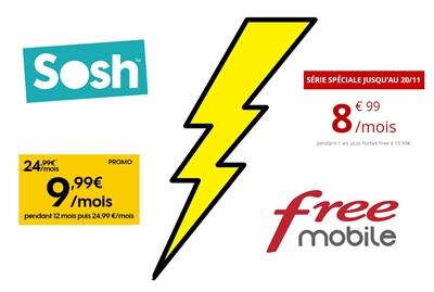 image avec logo sosh et free avec entre les deux un éclair jaune