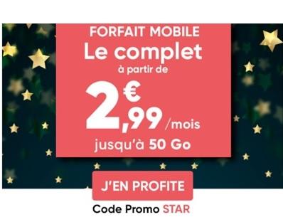 Forfait mobile Le complet de Prixtel à partir de 2,99€ par mois grâce au code promo STAR