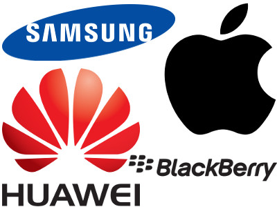 Logo des marques Apple, Samsung, Huawei et Blackberry
