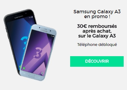 vente flash  SFR Galaxy A3 2017 à 268.99€