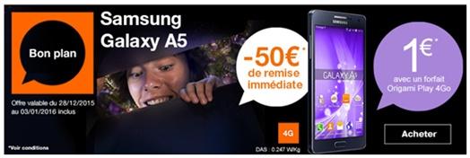 bon plan orange 50 de remise sur le samsung galaxy a5. Black Bedroom Furniture Sets. Home Design Ideas