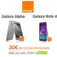 Le Samsung Galaxy Note 4 et Galaxy Alpha en promotion avec un forfait mobile chez Orange !