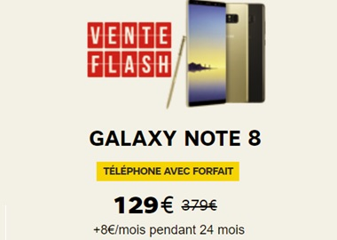 Bon plan : le Galaxy Note 8 en vente flash à 129 euros chez SFR