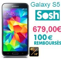Bon plan : Remise de 100€ pour l'achat d'un Samsung Galaxy S5 avec un forfait Sosh !