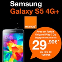 Bon plan du Web : Le Samsung Galaxy S5 4G+ en promo à 29.90€ avec un forfait Orange !