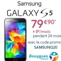 Bon plan Bouygues Telecom : Le Samsung Galaxy S5 en promo à partir de 79.90€ !
