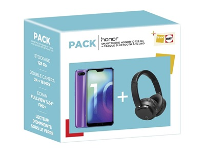 photo du pack avec le smartphone Honor 10 et le casque bluetooth offert