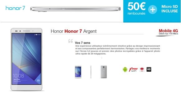 Le Honor 7 disponible chez Free Mobile