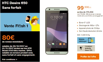 Le HTC Desire 650 en vente flash chez Orange