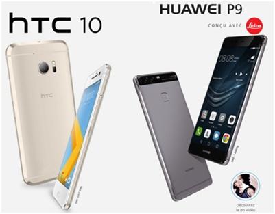 bouygues telecom, smartphone, huawei p9, htc 10