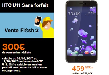 htc U11 vente flash Orange