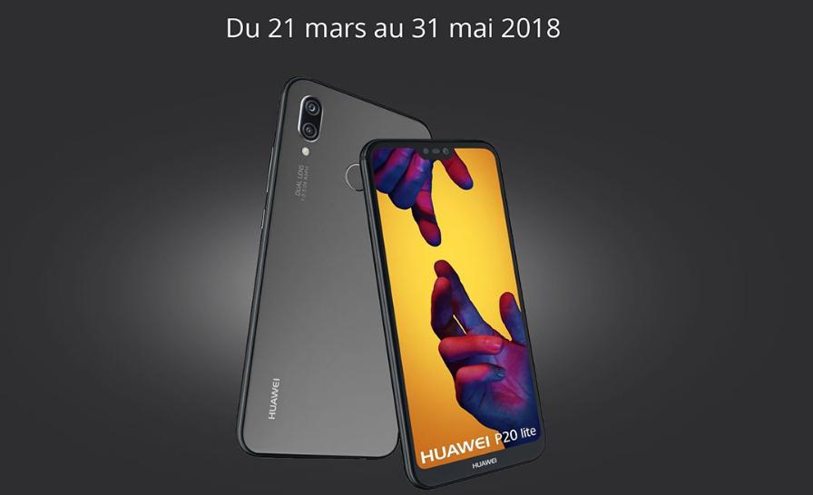 Le Huawei P20 Lite de dos et de face avec les dates du bonus reprise
