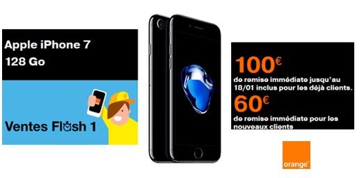 Vente flash Orange : jusqu'à 100 euros de remise sur l'iPhone 7 128Go